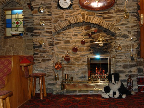 Fireplace in the Brit lounge bar...